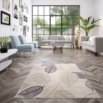Tapis feuilles ambiance scandinave 120 x 170 cm