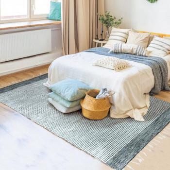 Tapis fines rayures gris et blanc 160 x 230 cm