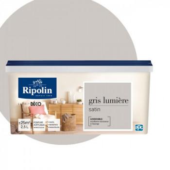 Peinture Ripolin Esprit Déco Murs, plafonds, boiseries et radiateurs gris lumière satin 2,5L