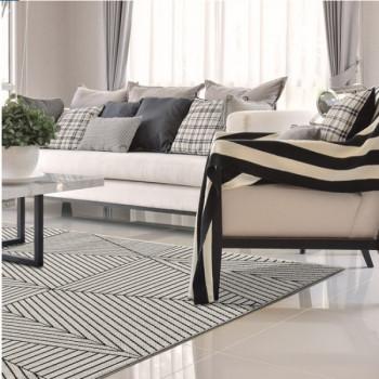 Tapis rayures blanc et noir 160 x 230 cm