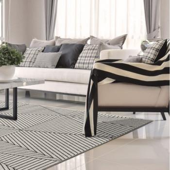 Tapis rayures blanc et noir 120 x 170 cm