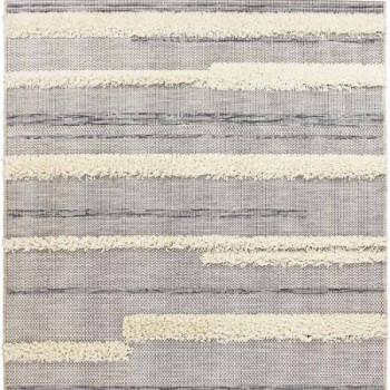 Tapis contemporain lignes noires et blanches 120 x 170 cm