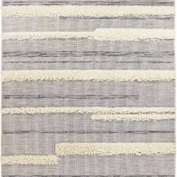 Tapis contemporain lignes noires et blanches 160 x 230 cm