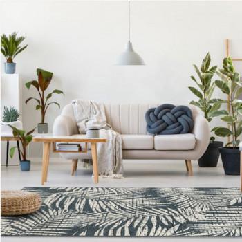 Tapis Palmes végétales noir et blanc 160 x 230 cm