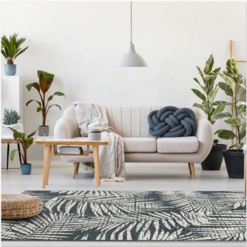 Tapis Palmes végétales noir et blanc 120 x 170 cm