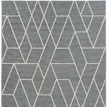 Tapis gris motif géométrique blanc 160 x 230 cm