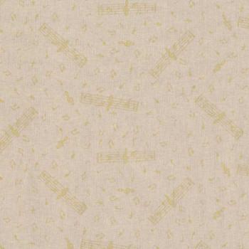 Tissu coton imprimé note de musique dorée 140 cm