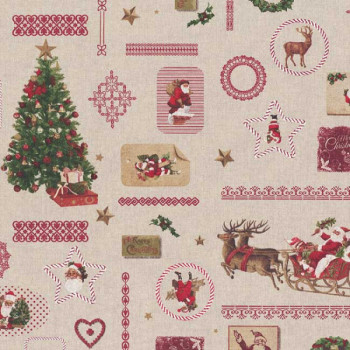 Tissu coton imprimé Noël 140 cm