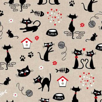 Tissu coton imprimé petits chats 140 cm