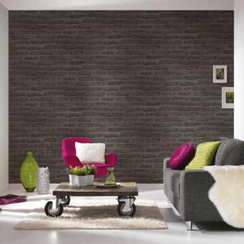 Papier peint lessivable mur de briques noir AS CREATION