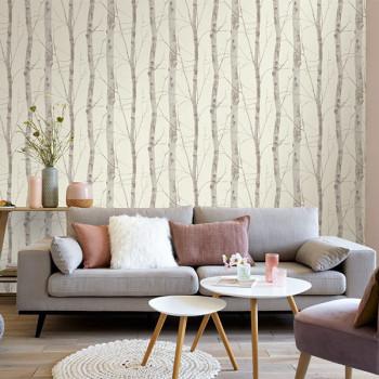 Papier peint intissé lessivable motif arbre beige