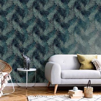 Papier peint intissé lessivable motif palmes bleues