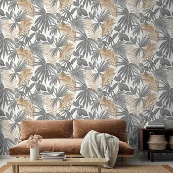 Papier peint intissé lessivable palme gris et doré