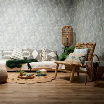Papier peint intissé blanc palmes végétales COSY & RELAX