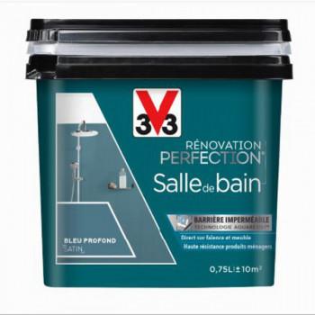 Peinture V33 rénovation salle de bain bleu profond satin 0,75L