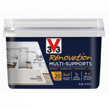 Peinture V33 rénovation multi-supports gris porcelaine satin 0,5L
