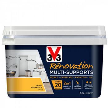 Peinture V33 rénovation multi-supports jaune tournesol satin 0,5L