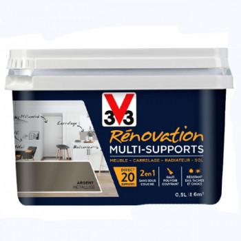 Peinture V33 rénovation multi-supports argent métallisé satin 0,5L