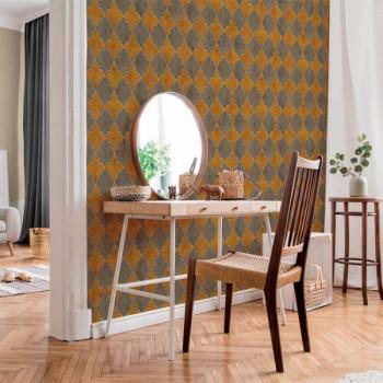 Papier peint intissé carreaux ciment jaune vintage