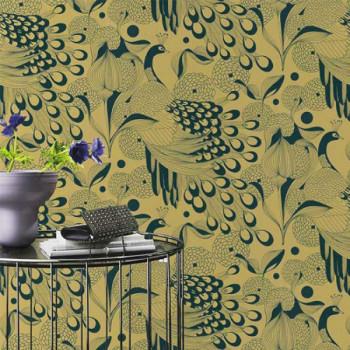 Papier peint intissé motif paons dorés