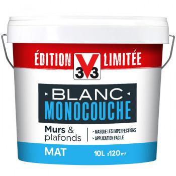 Peinture V33 Blanc monocouche murs & plafonds mat 10L