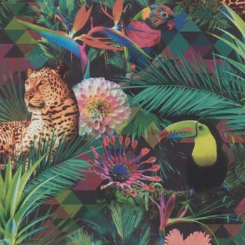 Papier peint intissé lessivable jungle mutlicolor