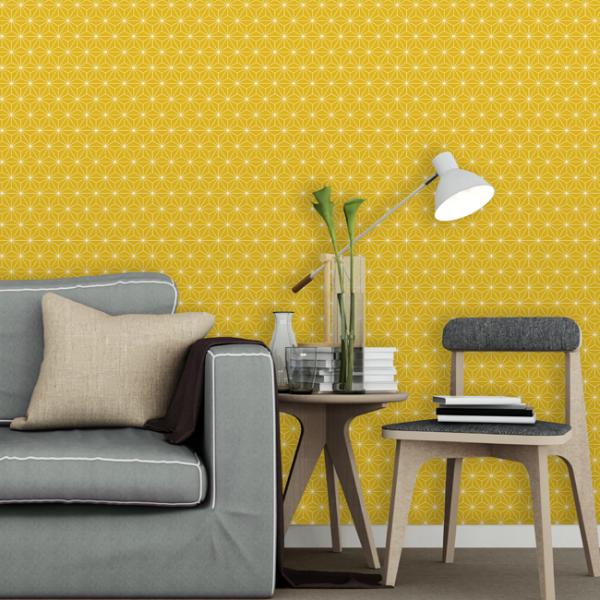 Papier peint intissé jaune motif...