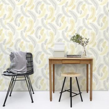 Papier peint intissé lessivable motifs plumes jaune